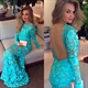 Turquoise Long Sleeve Backless Lace Applique Sheath Long Prom Dress