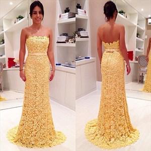 Strapless Yellow Lace Applique Floor Length Sheath Mermaid Prom Dress