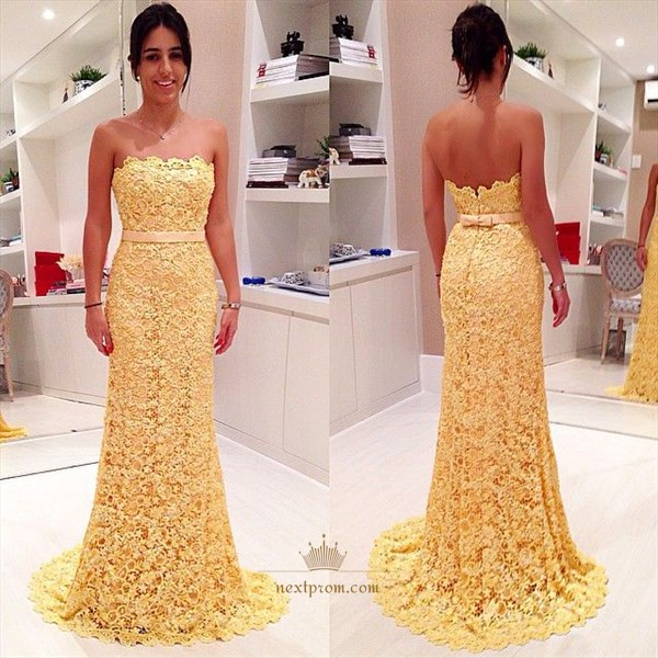 Strapless Yellow Lace Applique Floor Length Sheath Mermaid Prom Dress