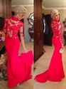 Red Illusion High Collar Long Sleeve Lace Bodice Mermaid Prom Dress