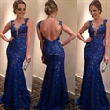 Royal Blue Sleeveless Deep V Neck Open Back Lace Mermaid Prom Dress