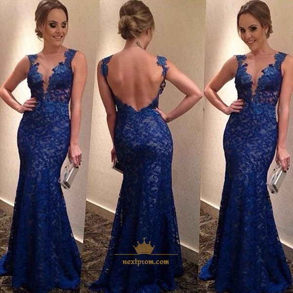 Royal Blue Sleeveless Deep V Neck Open Back Lace Mermaid Prom Dress
