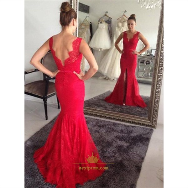 Red Sleeveless V Neck Open Back Front Split Lace Mermaid Prom Dress