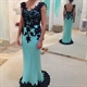 Sleeveless Black Floral Applique Lace Embellished Turquoise Prom Dress