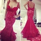 Red Spaghetti Strap Backless Lace Overlay Mermaid Prom Dress With Bow