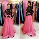 Illusion Black Long Sleeve Lace Bodice Pink Tulle Overlay Prom Dress