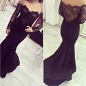 Black Illusion Lace Off The Shoulder Long Sleeve Mermaid Prom Dress