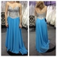 Strapless Sweetheart Neck Sequin Bodice A Line Blue Chiffon Prom Dress
