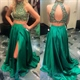 Emerald Green Halter Beaded Bodice Keyhole Back Two Piece Prom Dress