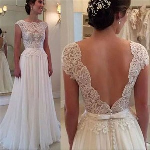 White Cap Sleeve Lace Bodice Open Back Chiffon Prom Dress With Belt