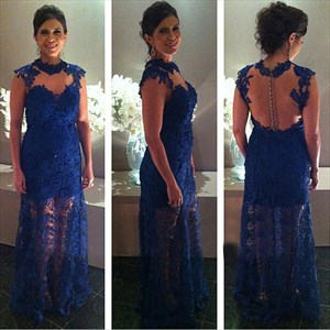 Royal Blue Sleeveless Illusion Floral Applique Lace Overlay Prom Dress