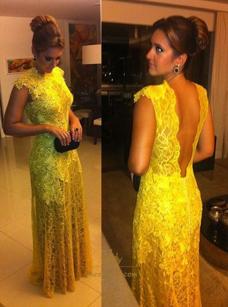 Yellow Applique Cap Sleeve Open Back Lace Overlay Sheath Prom Dress