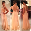 Sleeveless Lace Bodice Backless Floor Length Chiffon Bottom Prom Dress