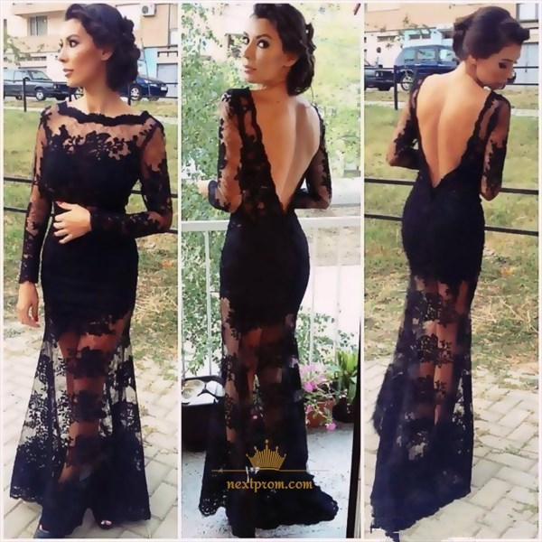 Black Illusion Long Sleeve Open Back Lace Overlay Sheath Prom Dress