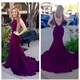 Elegant Sexy Grape Sleeveless Open Back Sheath Mermaid Prom Dress