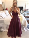 Burgundy Sleeveless Sheer Neck Beaded Bodice Chiffon Long Prom Dress