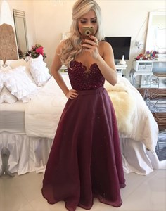 Burgundy Sleeveless Sheer Neck Beaded Bodice Chiffon Long Prom Dress