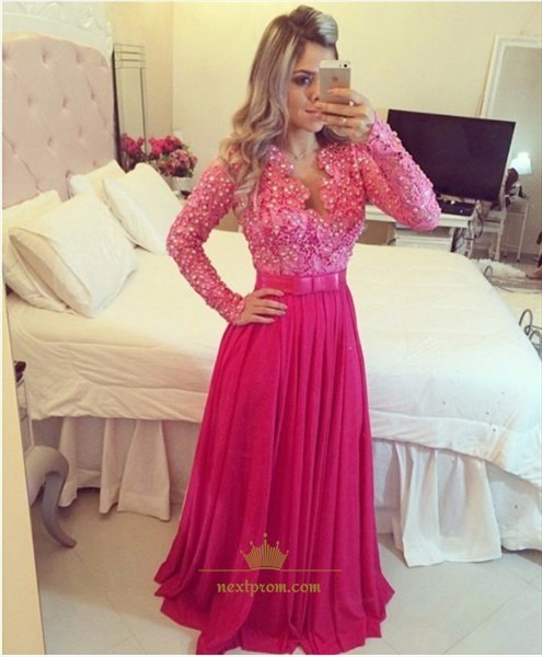 Hot Pink Long Sleeve Lace Beaded Bodice Chiffon Bottom Prom Dress