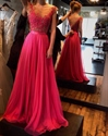 Hot Pink Cap Sleeve Illusion Applique Bodice Chiffon Long Prom Dress