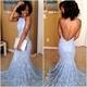 Light Blue Halter Neck Backless Sweep Train Lace Mermaid Prom Dress