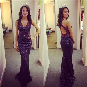 Grape Sleeveless Sheer V Neck Keyhole X-Back Sequin Mermaid Prom Dress