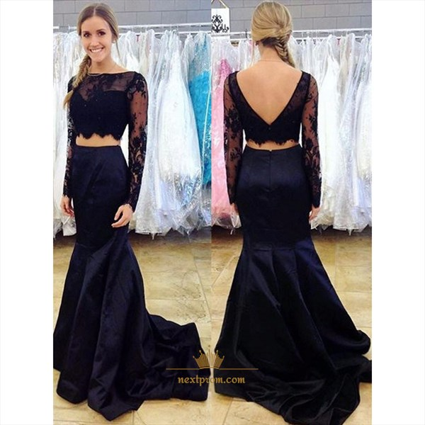 Black Illusion Long Sleeve Open Back Mermaid Two Piece Prom Dress