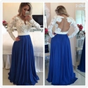 White Lace Beaded Bodice Sheer Back Royal Blue Chiffon Long Prom Dress