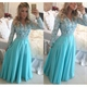 Turquoise Long Sleeve Lace Beaded Bodice A Line Chiffon Prom Dress