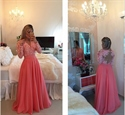 Pink Long Sleeve V Neck Lace Beaded Bodice Chiffon Long Prom Dress
