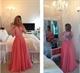 Pink Long Sleeve V Neck Lace Beaded Bodice Chiffon Long Prom Dress