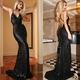 Sexy Black Sequin Spaghetti Strap Backless Sheath Mermaid Prom Dress