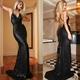Sexy Black Sequin Spaghetti Strap Backless Sheath Mermaid Prom Dress