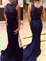 Navy Blue Sleeveless Illusion Beaded Bodice Sheath Mermaid Prom Dress
