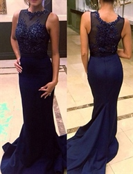 Navy Blue Sleeveless Illusion Beaded Bodice Sheath Mermaid Prom Dress