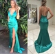 Turquoise Spaghetti Strap V Neck Front Split Prom Dress With Open Back