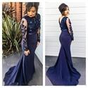 Navy Blue Illusion Sheath Mermaid Prom Dress With Applique Long Sleeve