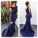 Navy Blue Illusion Sheath Mermaid Prom Dress With Applique Long Sleeve