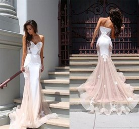Light Pink Strapless Sweetheart Lace Embellished Prom Dress With Train