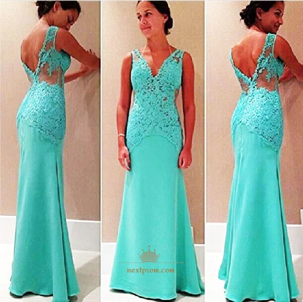 Turquoise Sleeveless Lace Applique Bodice Prom Dress With Open Back