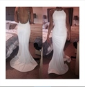 White Beaded Halter Neck Sleeveless Backless Sheath Mermaid Prom Dress