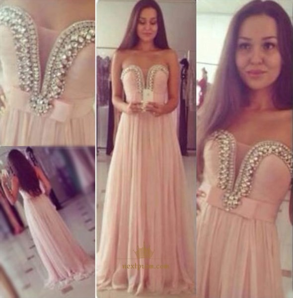 Light Pink Strapless Beaded Sweetheart Empire Waist Chiffon Prom Dress