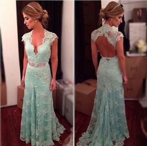 Light Blue Cap Sleeve Deep V Neck Lace Overlay Dress With Keyhole Back
