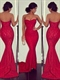 Red Strapless Sweetheart Floor Length Sheath Lace Mermaid Prom Dress