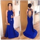 Royal Blue Sleeveless Beaded Neck And Keyhole Back Mermaid Prom Dress