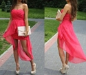 Lovely Fuchsia Strapless Pleated Bodice High Low Peplum Chiffon Dress