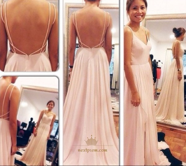 Simple Light Pink Spaghetti Strap V Neck Backless Chiffon Prom Dress