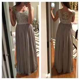 Grey Cap Sleeve Beaded Bodice Illusion Back A Line Chiffon Prom Dress