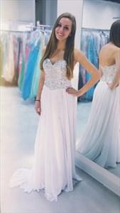 Elegant White Strapless Chiffon Long Prom Dress With Beaded Bodice