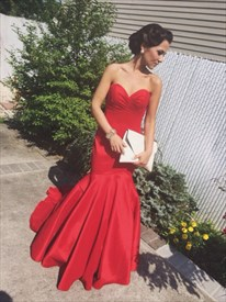 Elegant Red Strapless Sweetheart Neck Drop Waist Mermaid Prom Dress