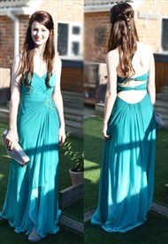 Turquoise Strapless Pleated Bodice Chiffon Prom Dress With Open Back